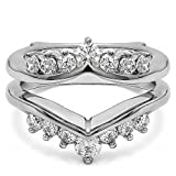 1/4 ct. Diamonds (G-H,I2-I3) Gorgeous Chevron Style Ring Guard Enhancer in Sterling Silver (0.25 ct. twt.)