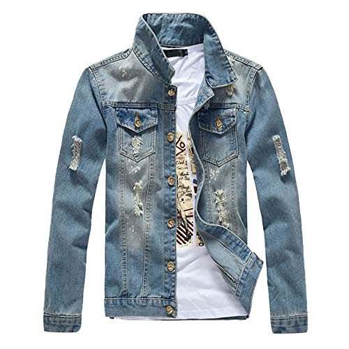 Mens Classic Ripped Motorcycle Denim Jacket with Hole Coats Outwear