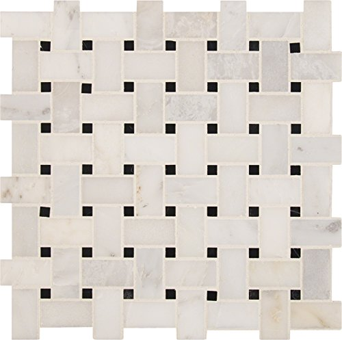 Tile Pattern Basketweave (M S International Arabescato Carrara Basket Weave 12 In. X 12 In. Polished Marble Mesh-Mounted Mosaic Tile, (10 sq. ft, 10 pieces per case))