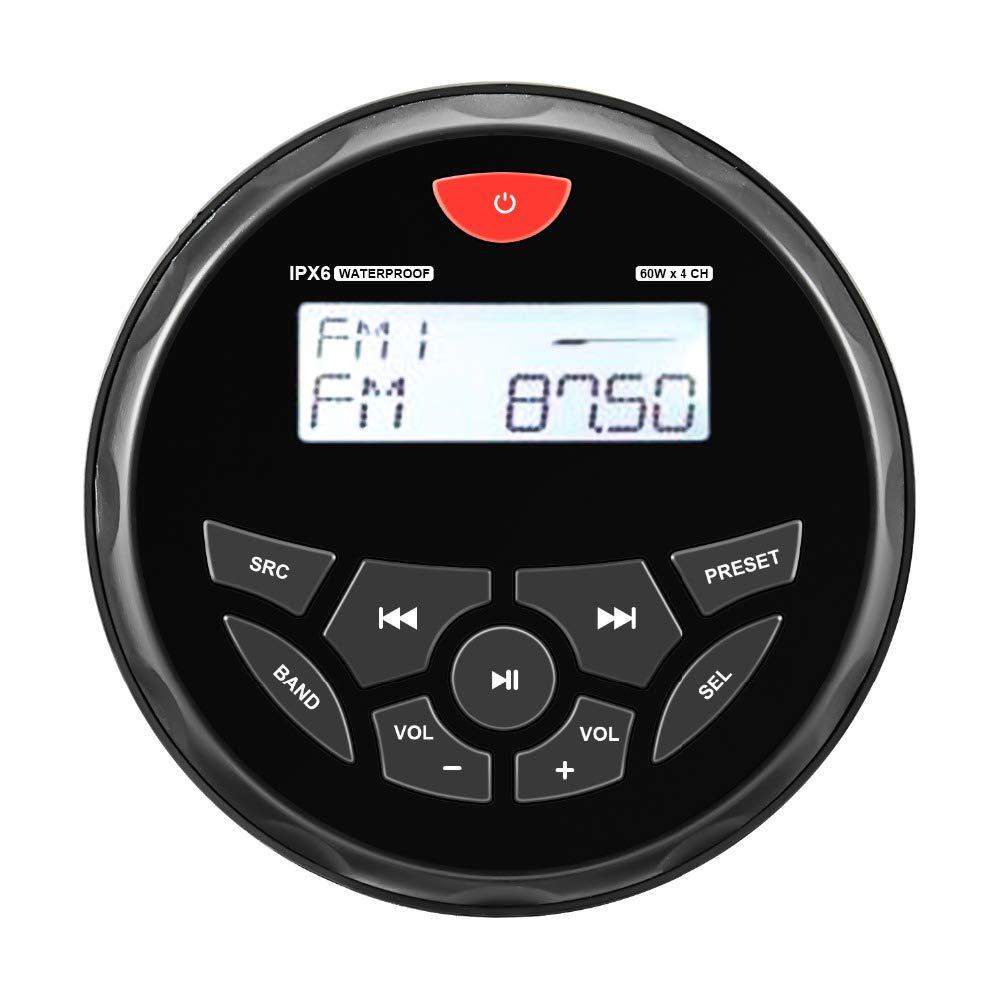 Herdio 4inch Mp3/USB/AM/FM Compatible, Weather-Proof Marine & UTV Gauge Stereo Radio Receiver Built-in Amplifier, Black