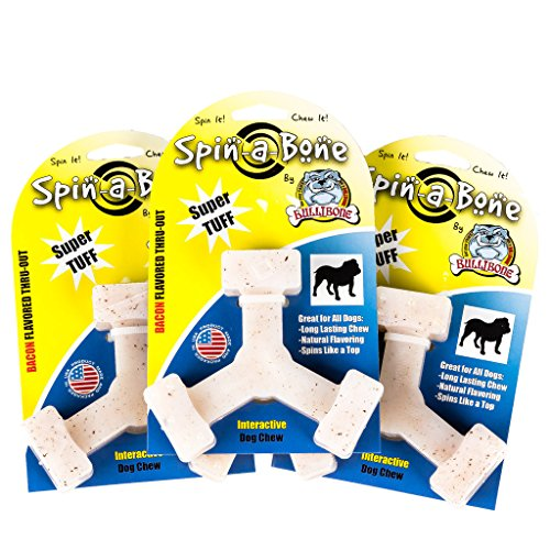 Bullibone Nylon Dog Chew Toy Spin-a-Bone - Bacon Flavor - Interactive Dog Toy, Triggers Natural Instincts, and Improves Oral Health