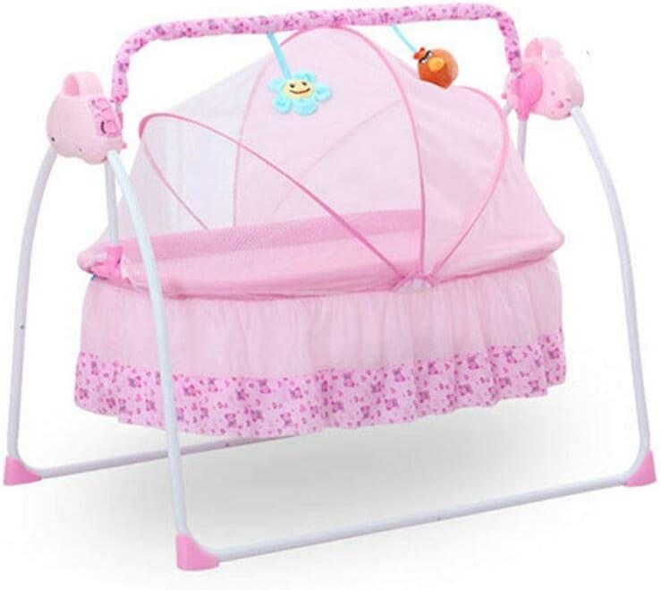 Cuna eléctrica para bebés Columpio de la Cuna 0-2 Edades Edad Baby Cuna mecedora plegable (Rosa)