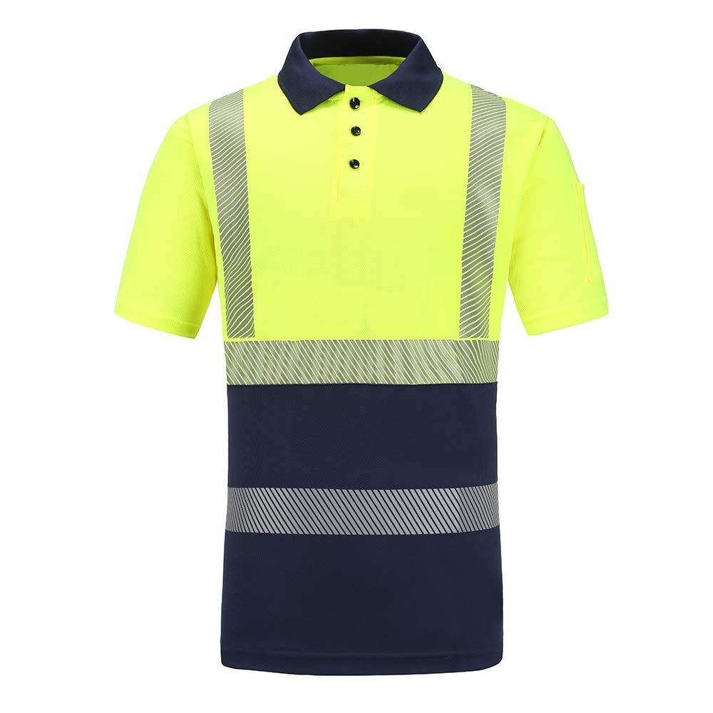 A-SAFETY Men's Casual Slim Reflective Polo Shirt, Safety Short Sleeve T-Shirt Hi Viz Security Exercise Tee Yellow, L