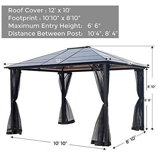 Garden and Outdoor AsterOutdoor 10×12 Outdoor Hardtop Gazebo for Patios Metal Aluminum Frame Polycarbonate Top Canopy with Mosquito Netting… pergolas