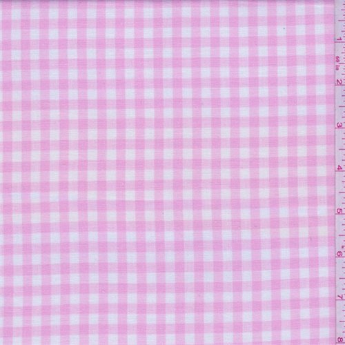 Baby Pink/White Check Cotton Shirting, Fabric by The Yard