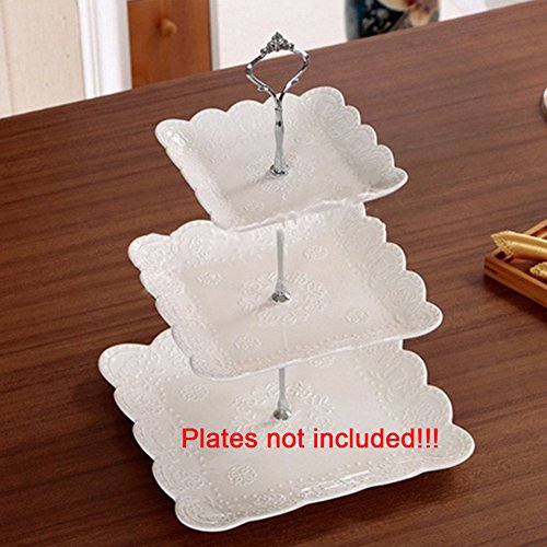 3 Tier Crown Fruits Cakes stand holder Cake Plate Stand Centre Handle Fittings for Wedding Party(Silver) by GEZICHTA (Image #1)