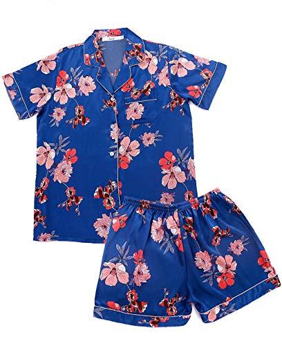 Women's Pajamas Set Leopard Striped Flower Love Cat Ladies Sleepwear Sets Short Sleeve Girls Pajamas Loungewear Nightgown (Flower Pajamas, - Girls Pajamas Loungewear