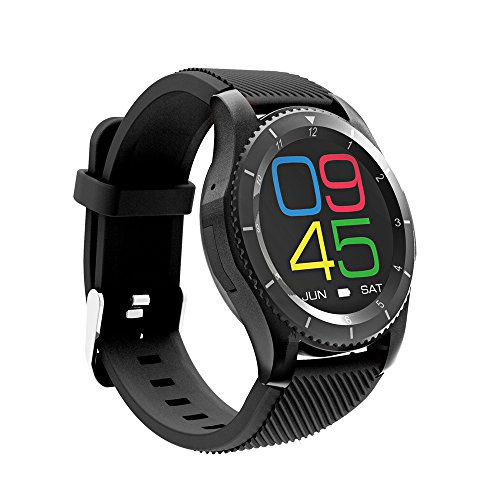 ker,Wireless Smart Watch with Sleep Monitor,Pedometer,Blood Pressure,Heartrate Monitor Support Android and iOS Ideal for Women,Men and Kids (Black) ()