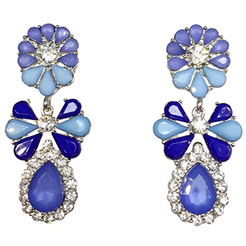 (Stunning Teardrop Cluster Rhinestone and Resin Post Dangle Boutique Style Earrings (Blue Tones))
