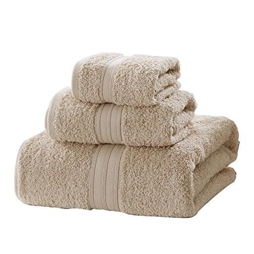 LOVO Egyptian Cotton Towel Set 3 Pieces Bath Hand Face Washcloth Luxury Microfiber Premium Soft Towel, Light Khaki