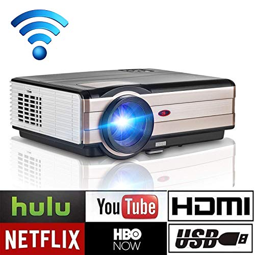 Home Led Theater (Wireless Projector WiFi LED LCD 3500 Lumen, Full HD 1080P LED Home Theater Movie Projectors for iPhone iPad with HDMI USB Headphone Jack TV Speaker & Multimedia Smart Beamer Indoor Outdoor)