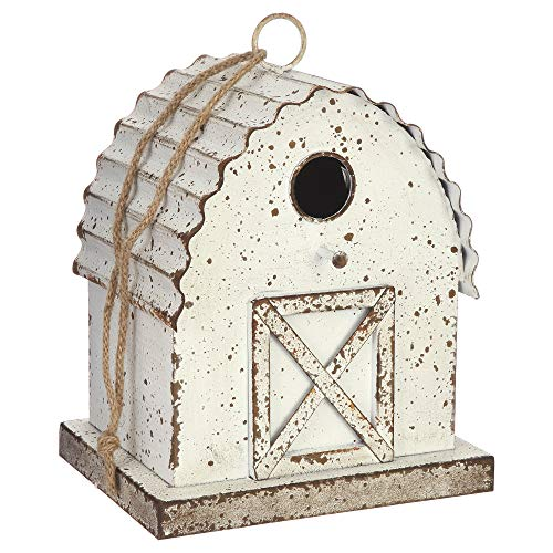 Country Barn Farm Rustic White 10 x 8 Distressed Iron Metal Bird -