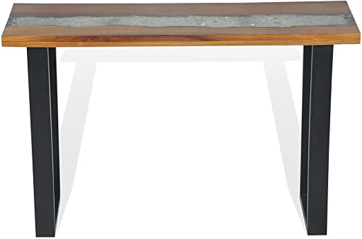 Festnight Industrial Entryway Console Table Teak 39.4 x 13.8 x 29.5