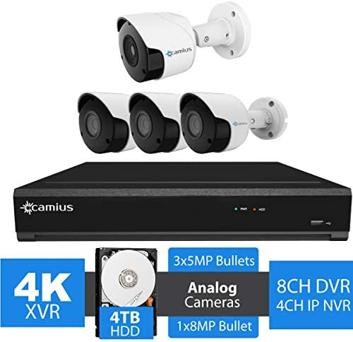 Camius 4K 8 Channel DVR Home Security Camera System with Hard Drive 4TB, 4 Analog Outdoor Cameras 1x8MP, 3x5MP Bullet 3.6mm Lens, Color Night Vision-Expandable to 12CH Analog, IP