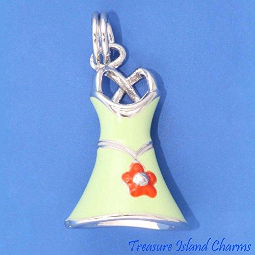 OutletBestSelling Beads Bracelet Green Enamel Summer Dress with Red Flower 3D Sterling Silver Charm - Charm Flowers 3d Sterling Silver