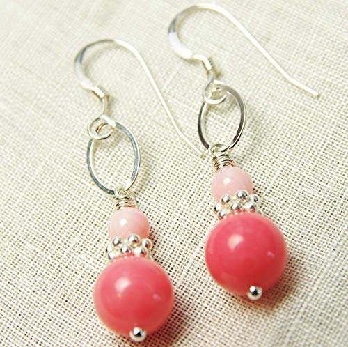(Pink Coral Earrings Sterling Silver Delicate Dangle 35th Wedding Anniversary)
