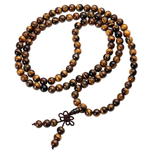 Jovivi Tibetan 8mm 108 Natural Tiger Eye Gemstone Beads Prayer Mala Bracelet Necklace ()