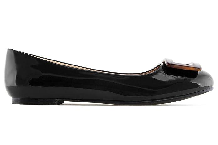 Damen Lack Ballerina im Carey Stil - Schwarz Schuhe in Übergrößen, Größe:44 Andres Machado