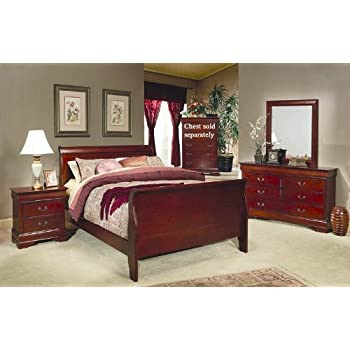 Amazon.com: 4 Pc Louis Philippe Queen Bedroom Set by Coaster ...