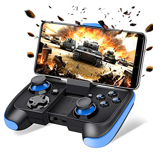 BEBONCOOL Android Wireless Game Controller with Clip for Android Phone/Tablet/Samsung Gear VR/Game Boy Emulator, Works with Bluetooth (Blue)