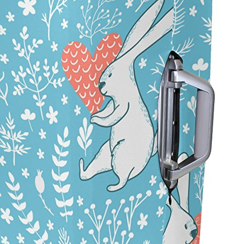 Cute Rabbit Love Floral Flowers Suitcase Luggage Cover Protector for Travel Kids Men Women by ALAZA (Image #4)