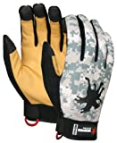 MCR Safety MD100M Memphis Synthetic Leather Palm Men?s Multitask Style Gloves with Digital Camo Pattern Fabric Back, Medium, 1-Pair