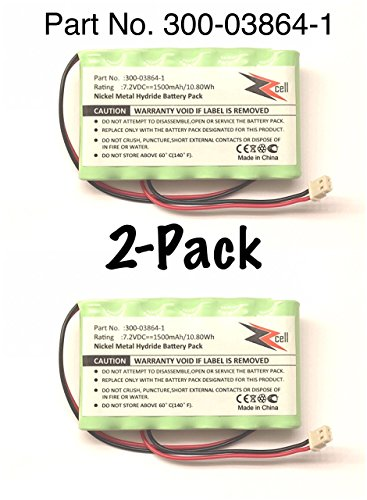 2-Pack ZZcell Battery For Honeywell Alarm 300-03864-1, Lynx L3000, Lynx L5000, Lynx L5100, ADEMCO 300-06868 1500mAh (NOTE: Please Check Connector Image For Compatibility - Battery Connector - 2 Prong)