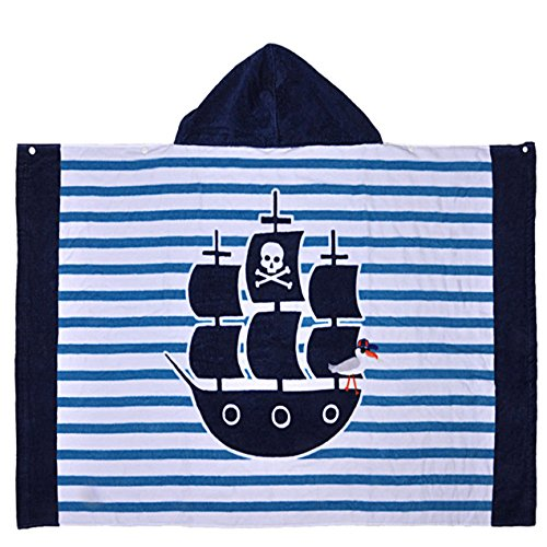 Pirate Ship Kid Bath Poncho Towel for 1-6 Years Boys, 30.3X 48.8 Inches Cotton Pullover Towel with Snap for Bath/Pool/Beach/Summer, Adorable Print, Highly Absorbent and Ultra Soft