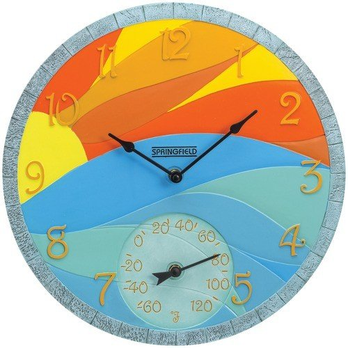 Springfield 92672 14'' Poly Resin Clock with Thermometer (Sunrise)