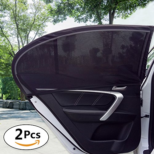PONY DANCE Car Sun Shade - Side Window Adjustable Universal Fit Car Window Screen Easy to Stall Protect Kids from Sun Lights and Harmful UV Rays Mesh Breathable Fabric, Black, 2 Pieces