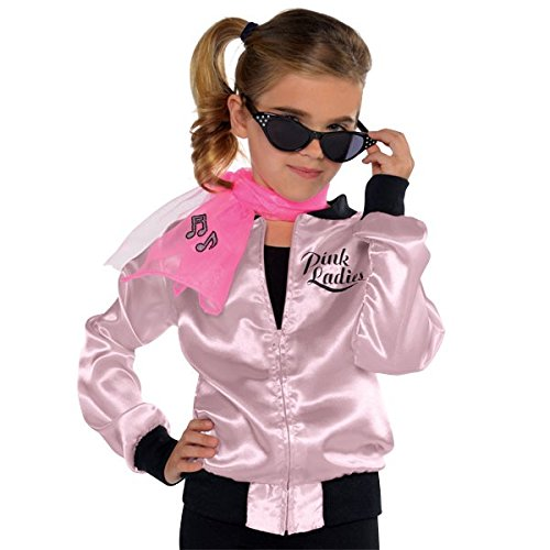 Grease Costume Jacket Ladies Pink Womens (Amscan Girls Pink Ladies Jacket -Child Halloween Costume)