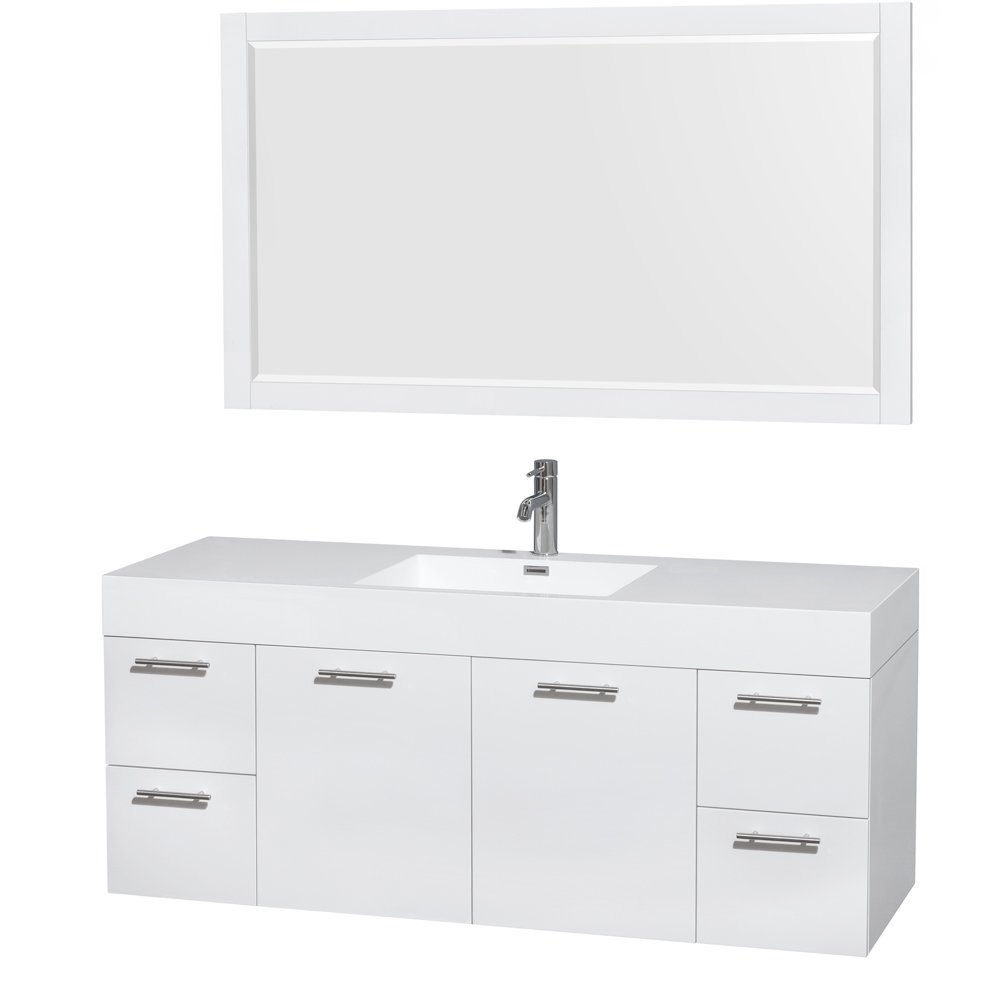 Wyndham Collection Amare 60 inch Single Bathroom Vanity in Glossy White, Acrylic Resin Countertop, Integrated Sink, and 58 inch Mirror
