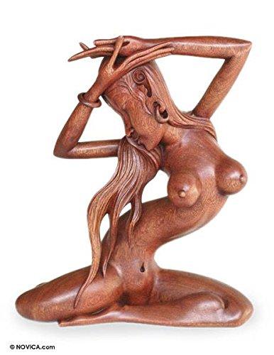 NOVICA Large Brown Female Form Wood Sculpture, 17'' Tall, 'Graceful Indah' by NOVICA
