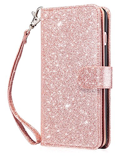 - Dailylux iPhone 6S Case,iPhone 6 Case,iPhone 6S Wallet Case Premium Soft PU Leather Closure Flip Cover with 9 Card Slot Luxury Bling Case for Apple iPhone 6/6s 4.7 inch-Glitter Rose Gold