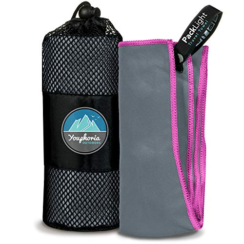 (Youphoria Outdoors Quick Dry Travel Towel with Carry Bag - Compact Microfiber Towel for Camping, Backpacking, Swimming, Sport and Gym - 1 Pack)