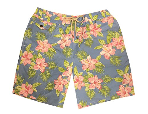 Trunks Lined Swim Hawaiian (Polo Ralph Lauren Mens Pony Logo Traveler Swim Trunk (S, Pastel Floral))