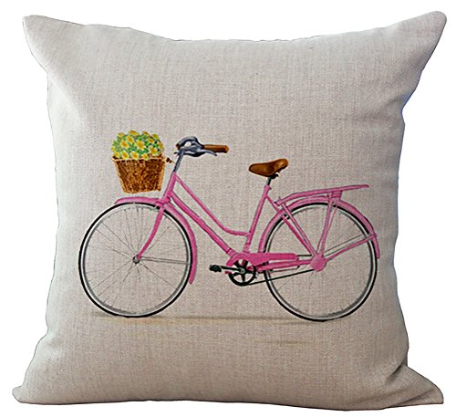 - ChezMax Chair Seat Back Cushion Cover Linen Cotton Throw Pillow Case Decorative Pillowcase Square Pillowslip For Family Room Pink Bike 45 X 45 cm
