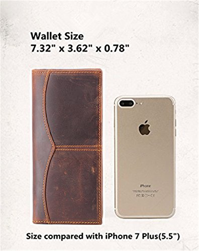 Darkbrown MultiCard Vintage Long Genuine Bifold Purse Leather Men's Purse Business Wallet Mens Pnwdq4Cz