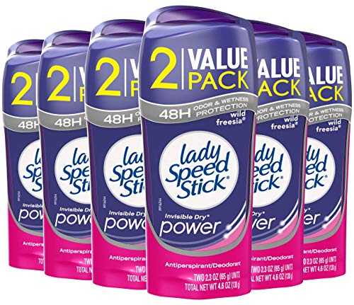 Womens Freesia - Lady Speed Stick Antiperspirant Deodorant, Power, Freesia - 2.3oz - 6 Twin packs
