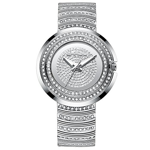 CRRJU Women Fashion Jewelry Crystal Watch,Ladies Bracelet Dress Wristwatches Steel Band Round Dial,Silver ()