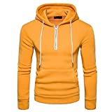 YANG-YI 2017 Men Cotton Blend Pullover Hoodie Basic Hooded Long Sleeve Sweatshirt Zipper Outwear (M, Yellow)