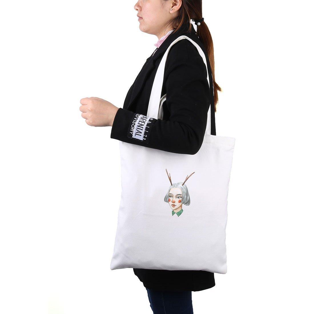 Amazon.com: Patrón eDealMax lona de la muchacha al aire libre Compras lavable hombro libro Mano La bolsa de asas blanca: Kitchen & Dining