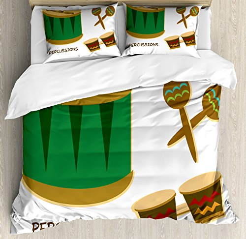 - Lunarable Percussion King Size Duvet Cover Set, Funky African Vibes Drums Maracas and Bongos Cuban Latin Festival Exotic Sound, Decorative 3 Piece Bedding Set with 2 Pillow Shams, Multicolor