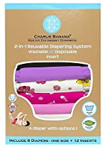 Charlie Banana 2-in-1 Reusable Diapering System, 6 Diapers plus 12 Inserts, S...