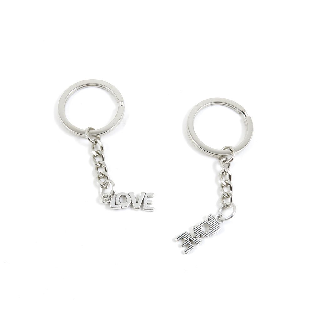 100 Pieces Keychain Door Car Key Chain Tags Keyring Ring Chain Keychain Supplies Antique Silver Tone Wholesale Bulk Lots L1EO3 LOVE