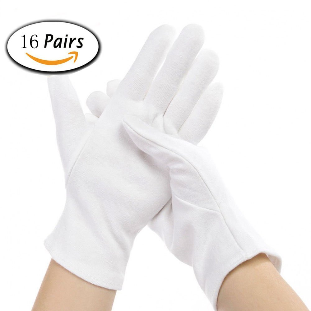 16 Pairs White Cotton Gloves for Coin Jewelry Silver Inspection, 8.6'' XLarge Size