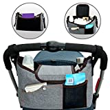BlueSnail Stroller Bag Fits Stroller Organizer - Extra-Large Storage Space for iPhones, Wallets, Diapers, Books, Toys, iPads (Grey)