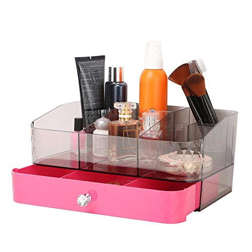 Price comparison product image GOTOTOP Jewelry Makeup Drawer Organizer,  Acrylic Makeup Cosmetic Organizer Storage Case Holder Vanity Display Boxes with Mirror Gift