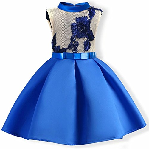 Tsyllyp Girl Floral Dress Embroidered Turtleneck Dresses with Cotton Lining Blue