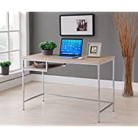 Kings Brand Furniture Modern Design Home & Office Computer Writing Desk, Chrome/Natural